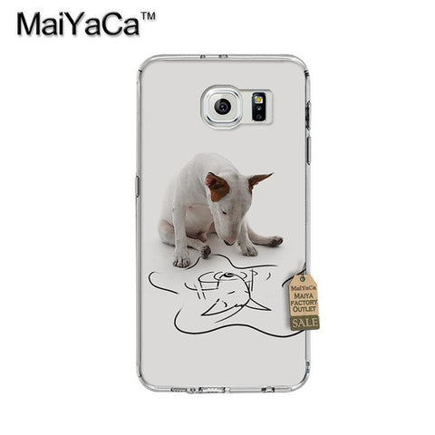 Bull Terrier Looking At Drawing Reflection Phone Case for Galaxy