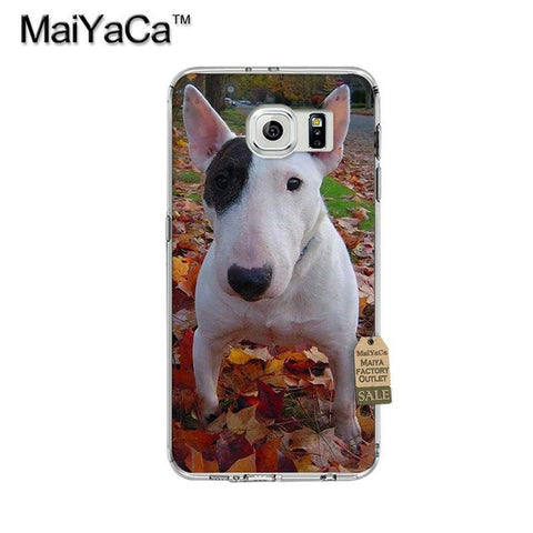 White Black Patch Bull Terrier Fall Leaves Phone Case for Galaxy