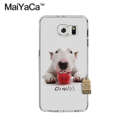 Bull Terrier Laying On Piggie Oinc Phone Case for Galaxy