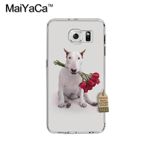 Bull Terrier Biting Roses Phone Case for Galaxy
