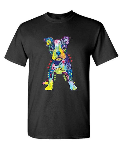 Colorful Crazy Design Pit Bull Puppy Men's T-Shirt