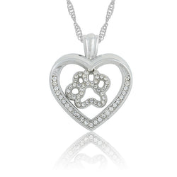 Dog Paw Inside Heart Crystal Rhinestone Silver Necklace