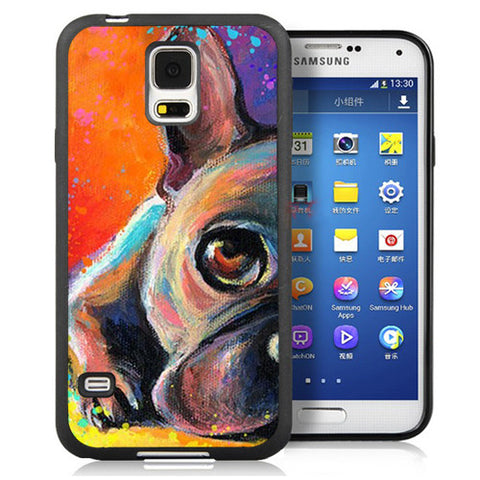 Colored Sketch Half French Bulldog Laying Down Phone Case for Galaxy