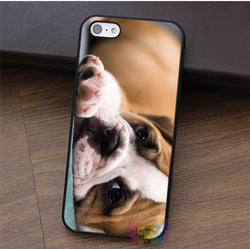 Sad English Bulldog Laying Down Landscape Phone Case for iPhone