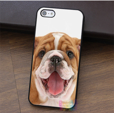 Happy Tan White English Bulldog Full Head Phone Case for iPhone
