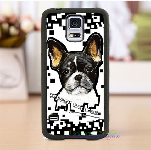 French Bulldog Black White Background Square Patter Phone for Galaxy