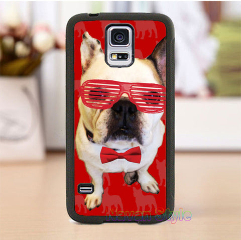 French Bulldog Red Shutter Shades Bow Tie Phone Case for Galaxy