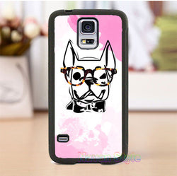 Smart English Bulldog Outline Glasses Phone Case for Galaxy