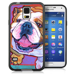 English Bulldog Looking Neon Outline Phone Case for Samsung Galaxy