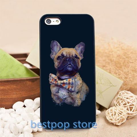 French Bulldog Poses Bow Tie Black Background Phone Case for iPhone