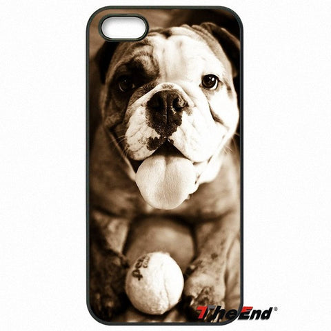 Happy English Bulldog Tennis Ball Brown Tint Phone Case for Galaxy, iPhone