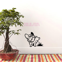 "Funny French Bulldog Peeing On Floor Sticker (11.8"" x 15.7"")"