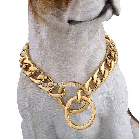 Cuban Gold Chain Link Soft Edges Style 13mm Wide Dog Collar