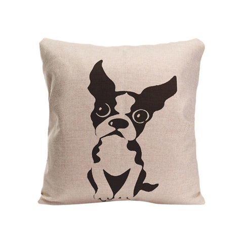 Black French Bulldog Outline Big Round Eyes Pillowcase