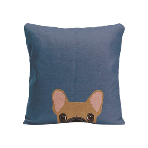 Brown French Bulldog Peaking From Bottom Blue Pillowcase