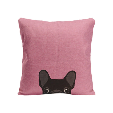 Black French Bulldog Peaking From Bottom Black Pillowcase