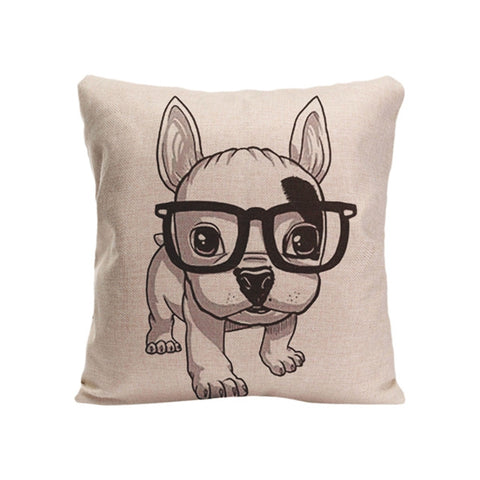 Cute French Bulldog Puppy With Big Glasses Pillowcase