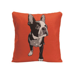 Black White French Bulldog Looking To Side Orange Pillowcase