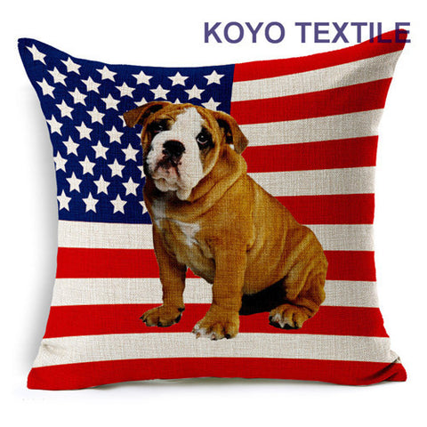 English Bulldog Puppy USA Flag Pillowcase