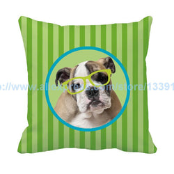 English Bulldog Green Glasses Stripe Green Throw Pillow