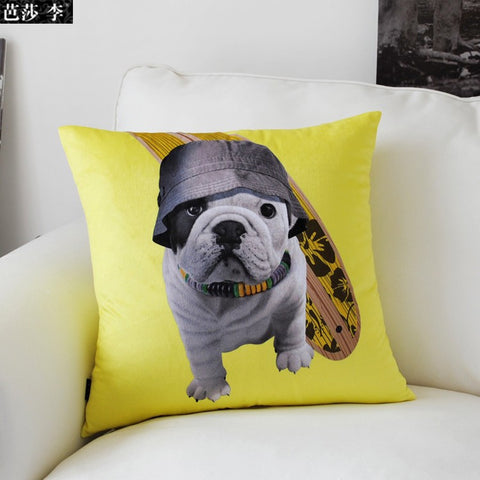 English Bulldog Beach Dog Surfer Yellow Pillowcase