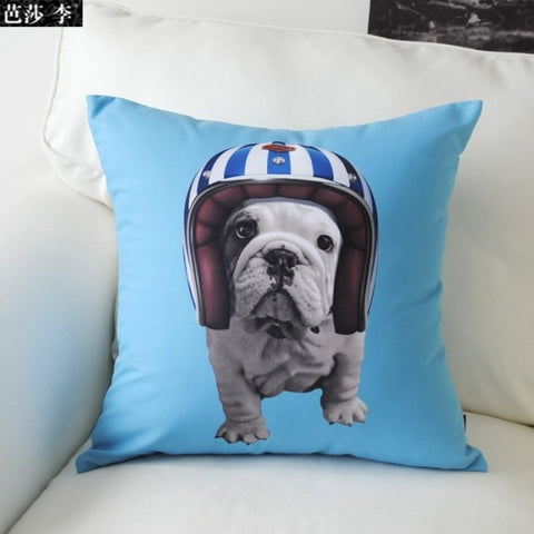 English Bulldog Puppy Daredevil Helmet Pillowcase