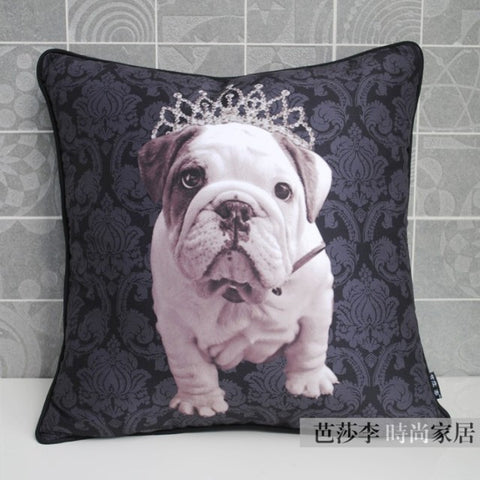 Princess English Bulldog Puppy Crown Floral Blue Pillowcase