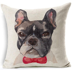Not Too Happy French Bulldog Head Red Bow Tie Pillowcase