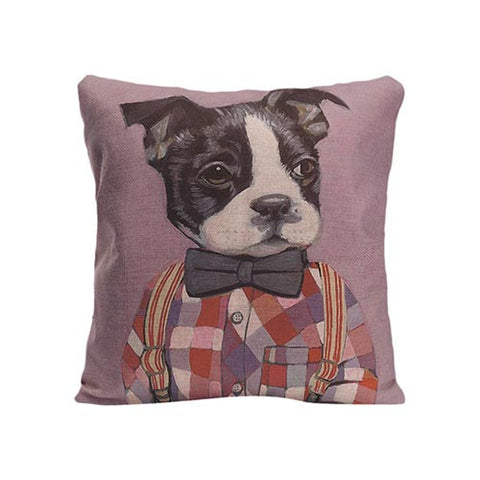 French Bulldog Overall Flannel Bow Tie Pillowcase