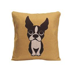 Cartoon French Bulldog Round Eyes Sitting Pillowcase