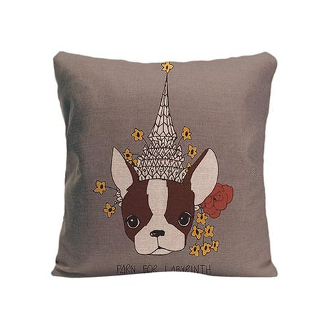 French Bulldog Color Drawing Tower Daisy Pillowcase