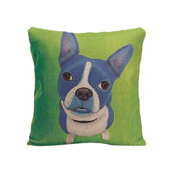 Blue French Bulldog Looking Up Sitting Green Pillowcase