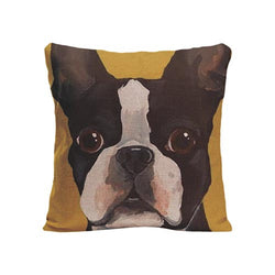 Black White French Bulldog Full Head Yellow Pillowcase