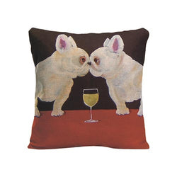 Two White French Bulldogs Kiss Wine Pillowcase
