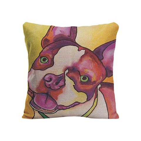 Happy Red Purple Fade French Bulldog Side Look Pillowcase