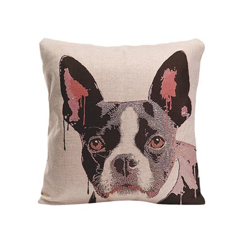 Black White French Bulldog Big Ear Painting White Pillowcase
