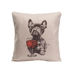 French Bulldog Glass of Red Wine Pillowcase