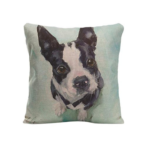 Black White French Bulldog Looking Up Painting Pillowcase