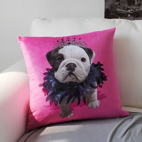 Princess English Bulldog Puppy Crown Pink Double Sided Pillowcase