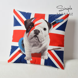 British Flag English Bulldog Puppy Guitar Pillowcase