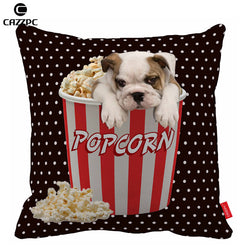 English Bulldog Popcorn Black Polka Dots Pillowcase