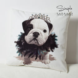 Princess English Bulldog Puppy Crown Two Side Pillowcase