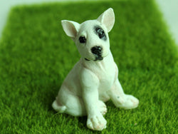 Bull Terrier Black Eye Patch Sitting Miniature Figurine Decoration