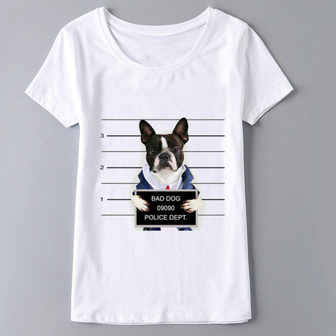 Boston Terrier Bad Dog Mugshot Women's T-Shirt