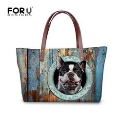 Boston Terrier Head Out Of Circle Top Handle Shoulder Bag