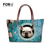 White French Bulldog Head Out of Circle Top Handle Shoulder Bag