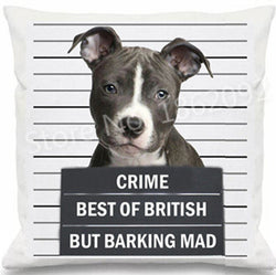 Pit Bull Mug Shot Crime Best of British But Barking Mad Pillowcase