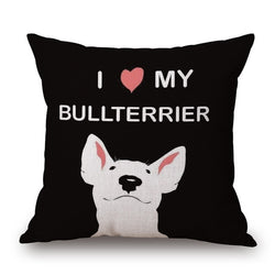 I Love My BullTerrier Color Drawing Black Pillowcase