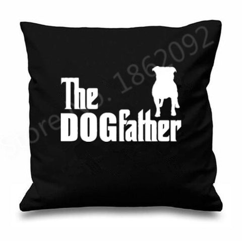 The Dogfather Pit Bull Silhouette Pillow Case