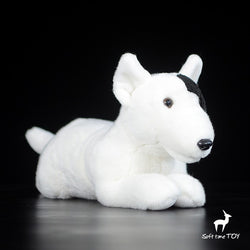 Bull Terrier Laying Down Left Eye Black Patch Stuffed Animal